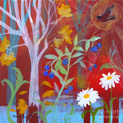 Painting - Robin's Blueberry Daisy Sunshiny Day by Robin Maria Pedrero