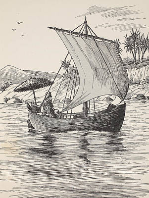 Robinson Crusoe On His Boat Art Print by English School
