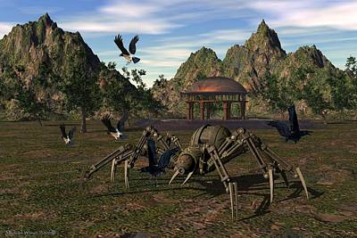 Bot Digital Art - Robo Spider Playing In The Park by Michael Wimer