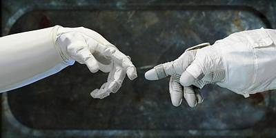 Robonaut And Astronaut Art Print