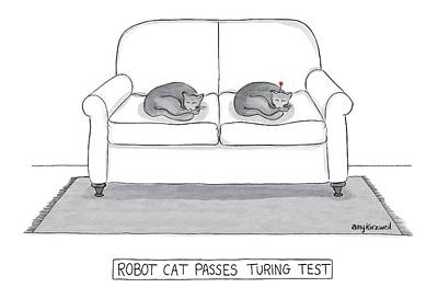 Amy-kurzweil Drawing - Robot Cat Passes Turing Test by Amy Kurzweil