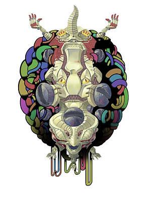 Robot Digital Art - Robot God - Trinity 2.0 by Augustinas Raginskis
