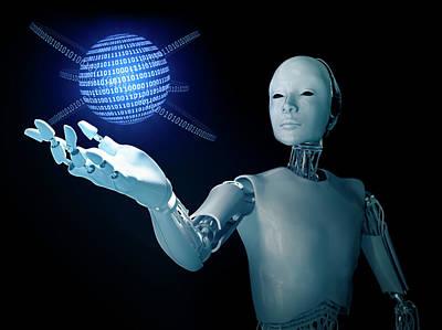 Robot Holding A Binary Code Sphere Art Print by Andrzej Wojcicki