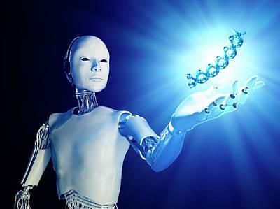 Robot Holding Dna Art Print by Andrzej Wojcicki