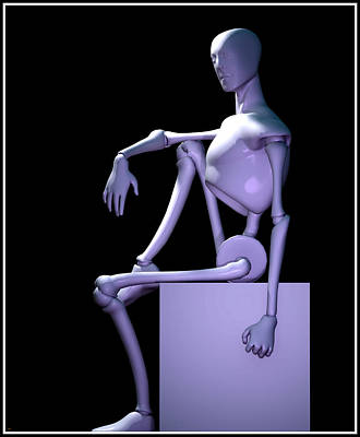Digital Art - Robot In Thought... by Tim Fillingim