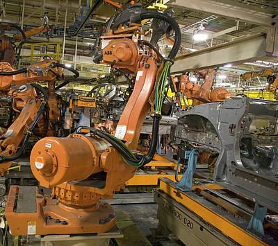 Production Photograph - Robot On Car Assembly Production Line by Jim West