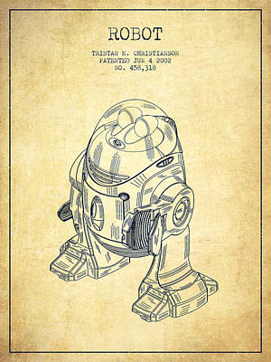 Android Digital Art - Robot Patent From 2002 - Vintage by Aged Pixel