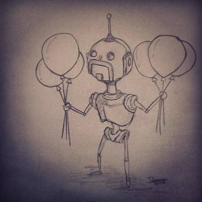#robot #robots #moustache #handlebars Art Print