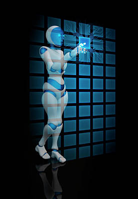 Digitally Generated Image Photograph - Robot Using Touch Screen Technology by Andrzej Wojcicki