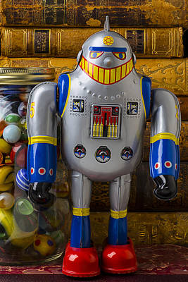 Robot With Marbles And Books Art Print by Garry Gay