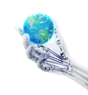 Robotic Hand And Globe Print by Andrzej Wojcicki