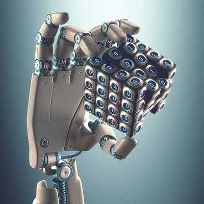 Robotic Hand Holding Cube Art Print by Ktsdesign