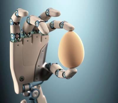 Life New Beginnings Photograph - Robotic Hand Holding Egg by Ktsdesign