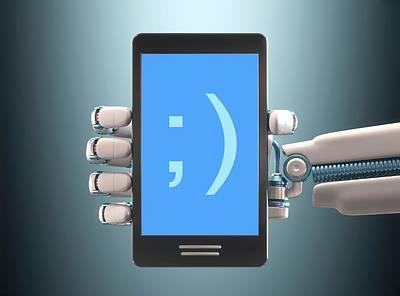 Robotic Hand Holding Phone Art Print by Ktsdesign