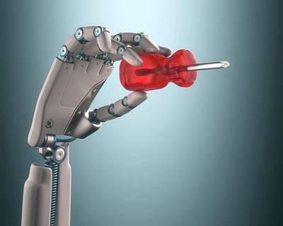 Robotic Hand Holding Screwdriver Art Print by Ktsdesign