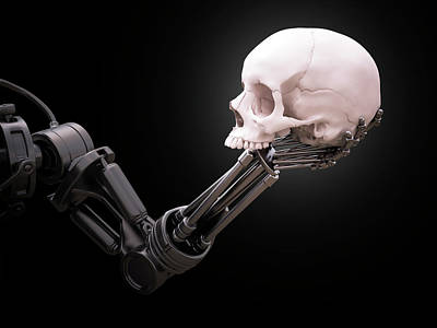 Artificial Intelligence Photograph - Robotic Hand Holding Skull by Andrzej Wojcicki
