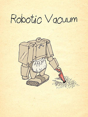 Wall Art - Digital Art - Robotic Vacuum Cleaner Comic by