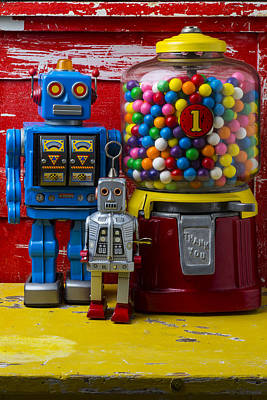 Robots And Bubblegum Machine Art Print by Garry Gay