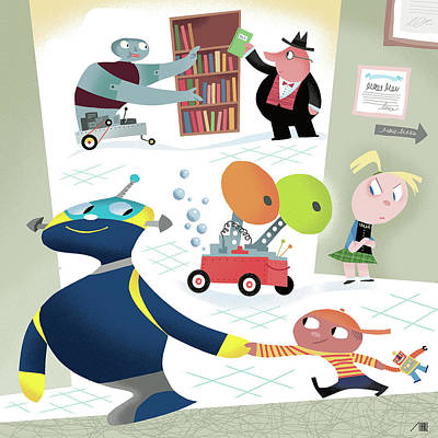 Digital Art - Robots And Children At School by Bob Staake