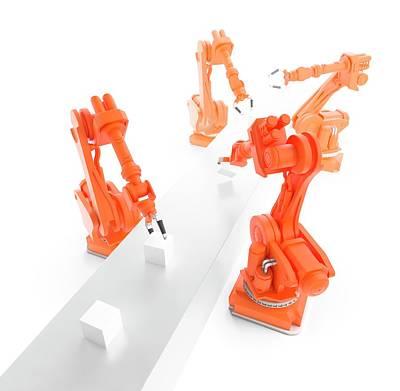 Production Line Photograph - Robots On Production Line by Andrzej Wojcicki