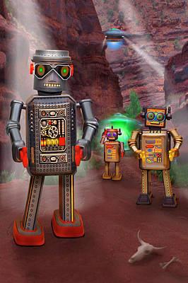 Robots With Attitudes 2 Art Print by Mike McGlothlen