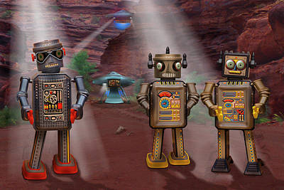 Surrealism Royalty-Free and Rights-Managed Images - Robots With Attitudes  by Mike McGlothlen