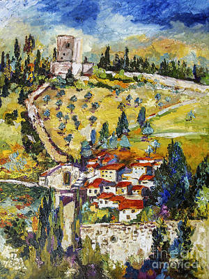 Painting - Rocca Maggiore Assisi Italy Oil Painting by Ginette Callaway