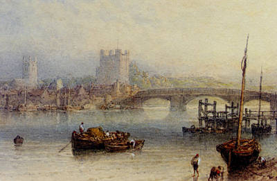 Rochester From The River Art Print by Myles Birket Foster