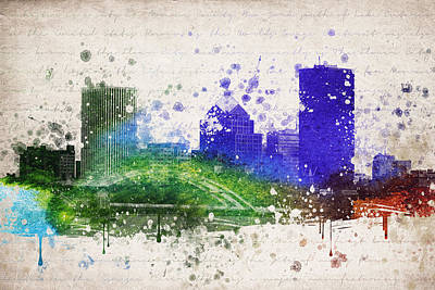 Skylines Mixed Media - Rochester in Color by Aged Pixel