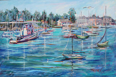 Monterey Wharf Painting - Rock-a-bye by Marie Massey