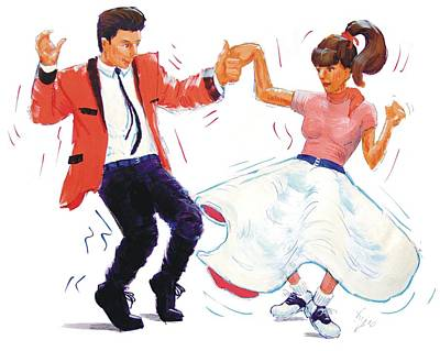 60s Drawing - Rock And Roll Dancers by Mike Jory