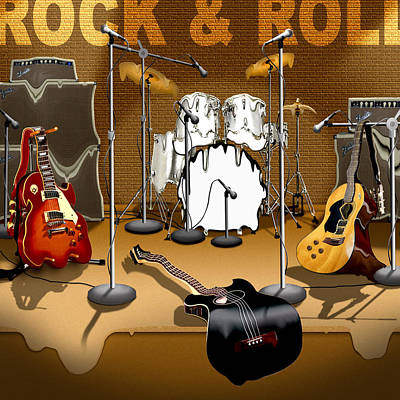 Surrealism Royalty-Free and Rights-Managed Images - Rock and Roll Meltdown by Mike McGlothlen