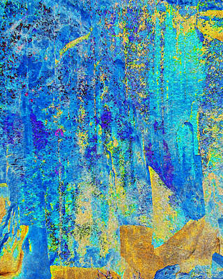Digital Art - Rock Art Blue And Gold by Stephanie Grant