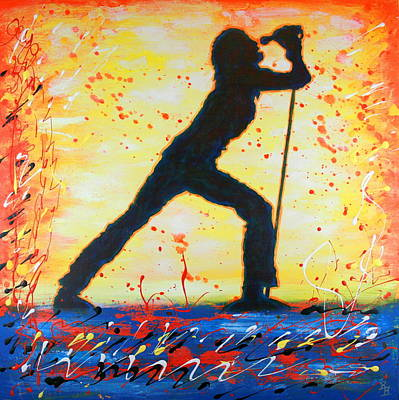 Painting - Rock Band Singer Abstract Art by Bob Baker