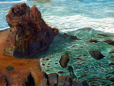 Rock Beach And Sea Art Print