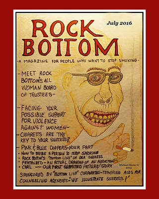 Painting - Rock Bottom Drug And Alcohol Poster by Michael Shone SR