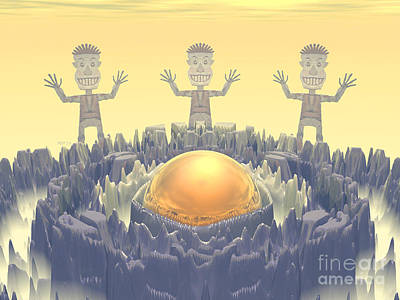 Fractal Other Worlds Digital Art - Rock Characters by Phil Perkins