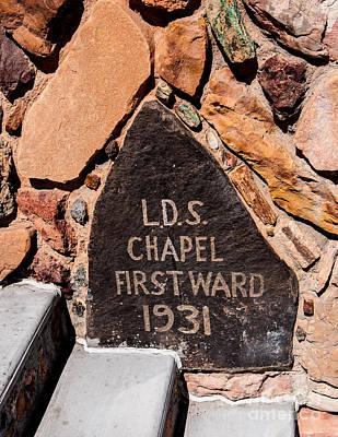 Stone Masons Photograph - Rock Church Datestone - Cedar City - Utah by Gary Whitton