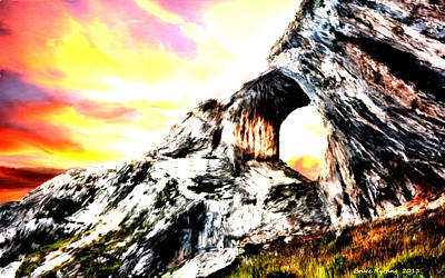 Art Print featuring the painting Rock Cliff Sunset by Bruce Nutting