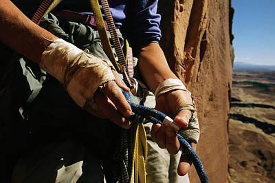 Rock Climber Becky Halls Wrapped Hands Art Print by Bill Hatcher