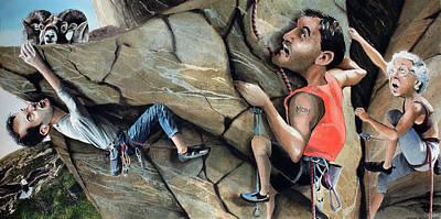 Rock Climbers Art Print by Denny Bond