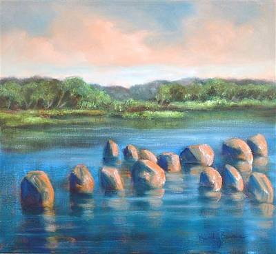 Painting - Rock Cross In The Water by Randol Burns