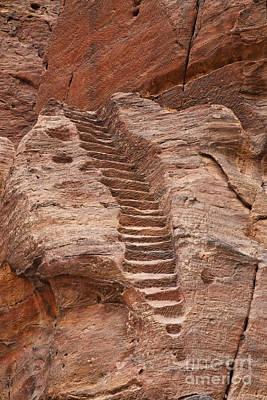Rock Cut Stairway Of The Street Of Facades Petra Jordan Print by Robert Preston
