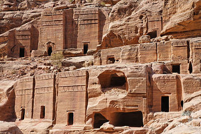 Rock Cut Tombs On The Street Of Facades Petra Jordan Print by Robert Preston