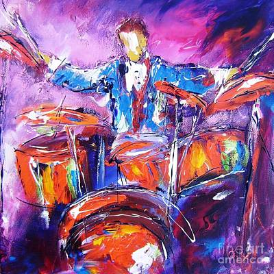 Drummer Painting - Rock Drummer Painting by Mary Cahalan Lee- aka PIXI