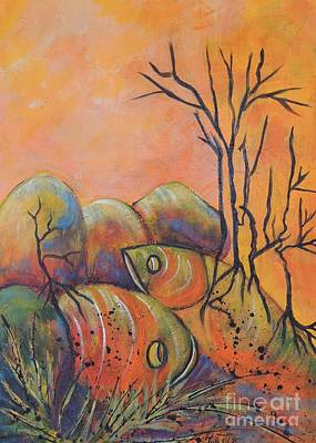 Art Print featuring the painting Rock Fishing by Lyn Olsen