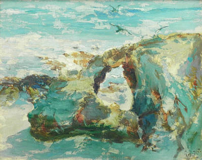 Laguna Beach Painting - Rock Formation With Gulls Laguna by Mathias Alten