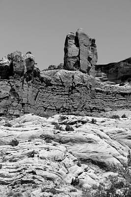 Photograph - Rock Formations 2 Arches National Park Bw by Mary Bedy