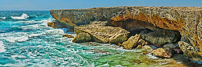 Featured Images Photograph - Rock Formations At The Coast, Aruba by Panoramic Images