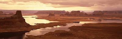 Rock Formations On A Landscape, Lake Art Print